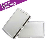 Recessed Lid Thin Silver Business Card Cases