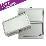 Raised Edge Deep Silver Business Card Cases