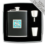 Personalized Flask Set in 100s of Designs - 6 Oz Black Leather