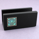 Egyptian Lotus Flower Wood Business Card Holders for Office Desk