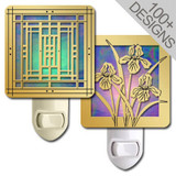 Designer Stained Glass Night Lights in 100s of Brushed Brass Patterns