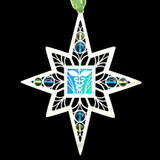 Doctor Christmas Ornaments in silver with aqua with peridot glass beads