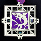 Shark's Jaws Holiday Ornament in silver with violet