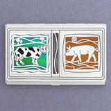 Farm Animal Business Card Holder in Metal