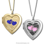 Small Personalized Heart Photo Locket Necklaces