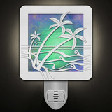 Tropical Island Paradise Night Light - Brushed Silver, Green Stained Glass