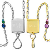 Engraved Beaded ID Badge Holder Lanyard Necklace
