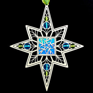 Star Ornament with aqua center and turquoise and peridot glass beads