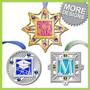 Personalized ornament designs - graduation cap, fireworks, monogram letter M.