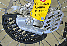 PFRONT BRAKE DISC GUARD KIT, 2015-2017 KTM and HUSQVARNA (NEW STYLE FORKS - 22mm Axles) KFD-100-211 SHOWN is a COMPLETE KIT INSTALLED ON BIKE WITH OPTIONAL UMHW PLASTIC DISC GUARD FIN