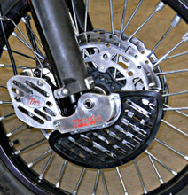 KTM FRONT BRAKE DISC GUARD KIT, FOR RIGHT SIDE, FITS 2009-2012 950 and 990 ADVENTURE MODELS  SHOWN here as a COMPLETE KIT INSTALLED ON BIKE WITH UMHW PLASTIC DISC GUARD FIN and OPTIONAL CALIPER GUARD - CLOSE UP  KFD-100-990-R