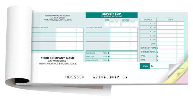 Business Deposit Book Cover : Rbc deposit slips discount cheques