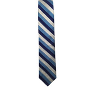 Multiblue and Silver Stripe Shantung Tie