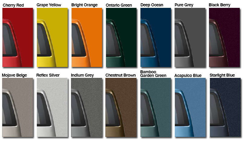 Silver car paint colour chart