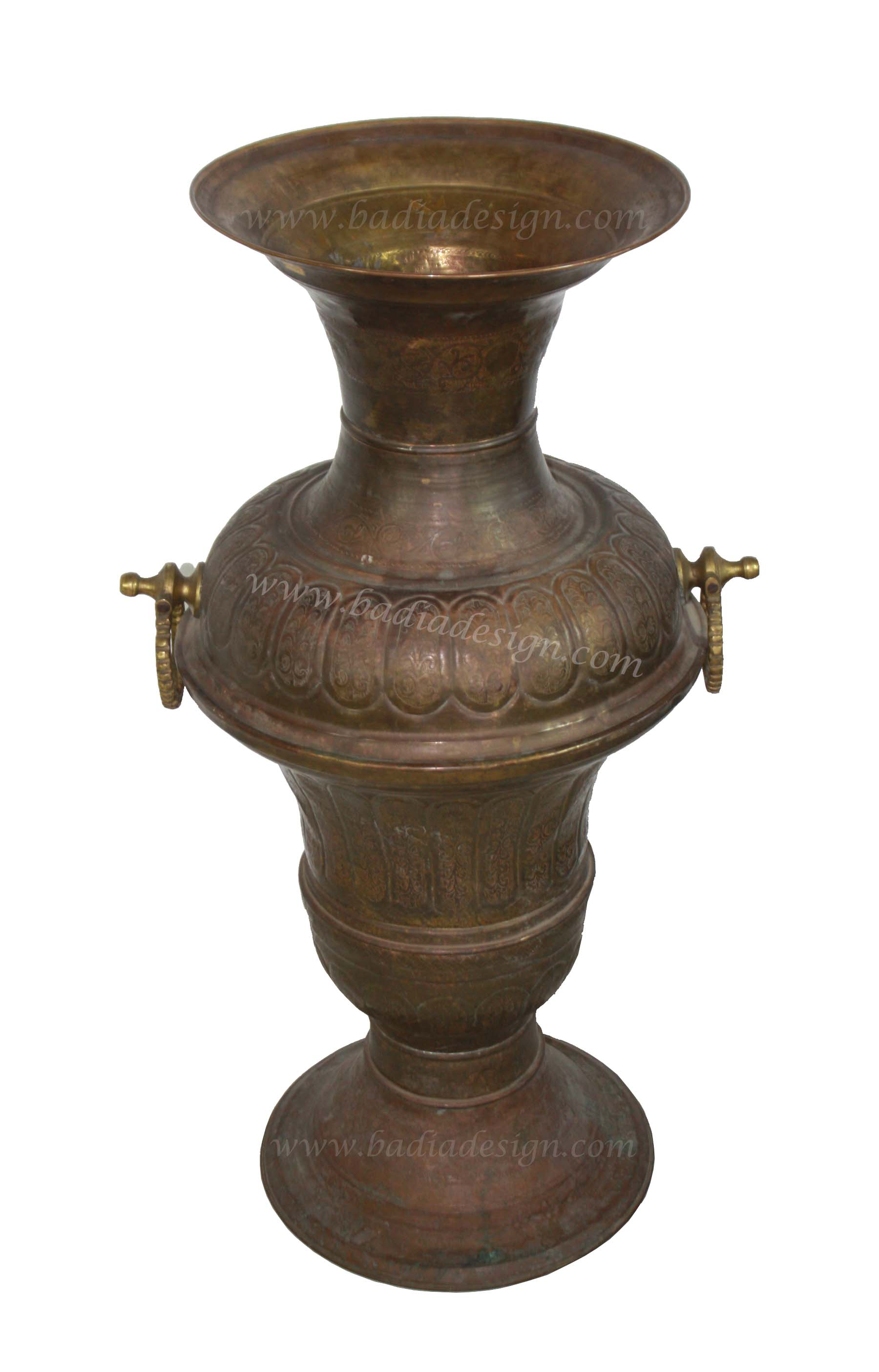 Embossed Moroccan Brass Urn