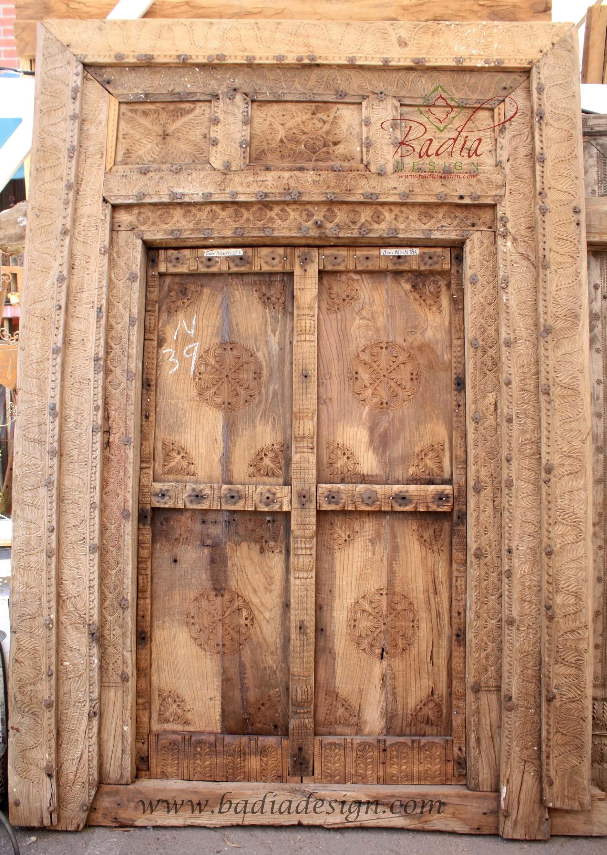 hand-carved-wooden-door-badia-design-cwd016.jpg & Large Vintage Wooden Door from Badia Design Inc.
