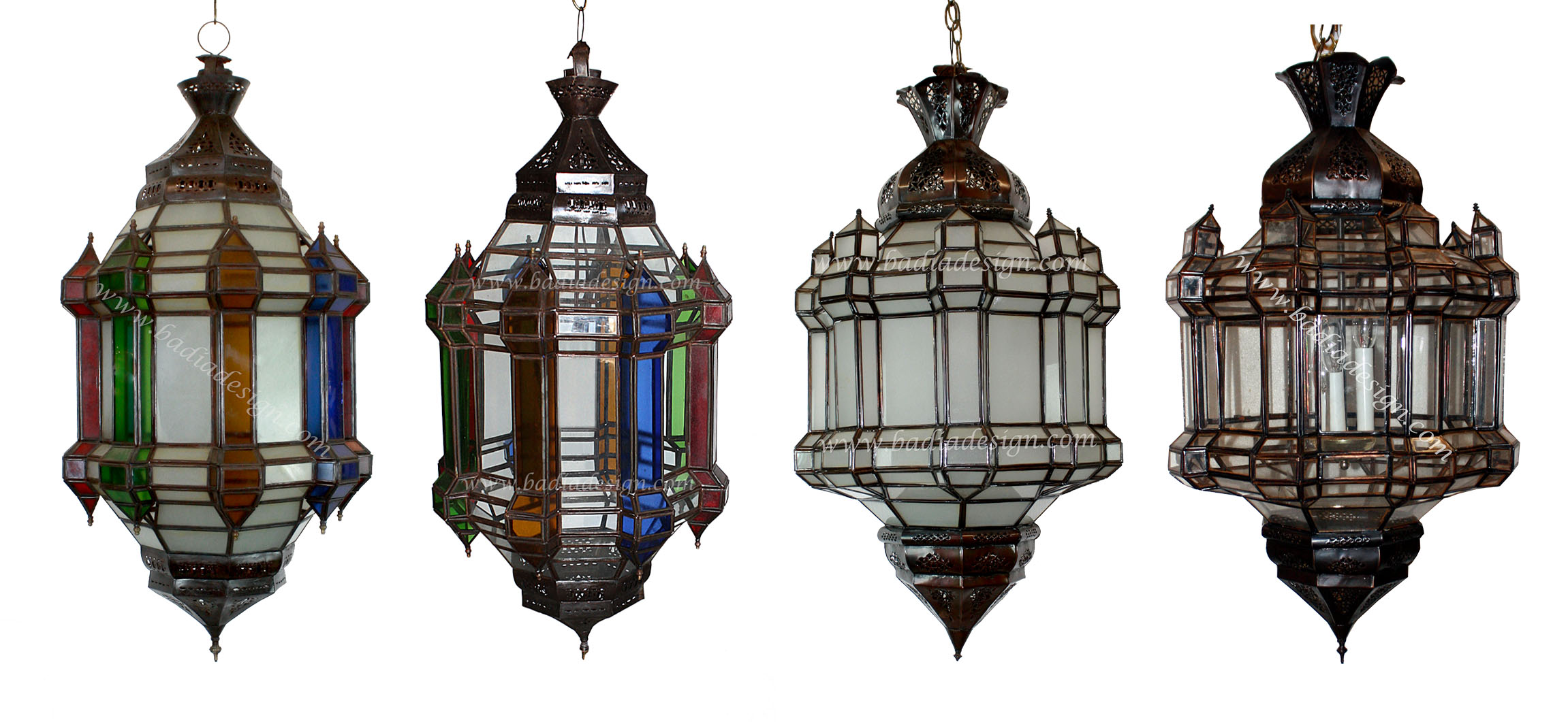 Large Moroccan Light With Multi-Color Glass