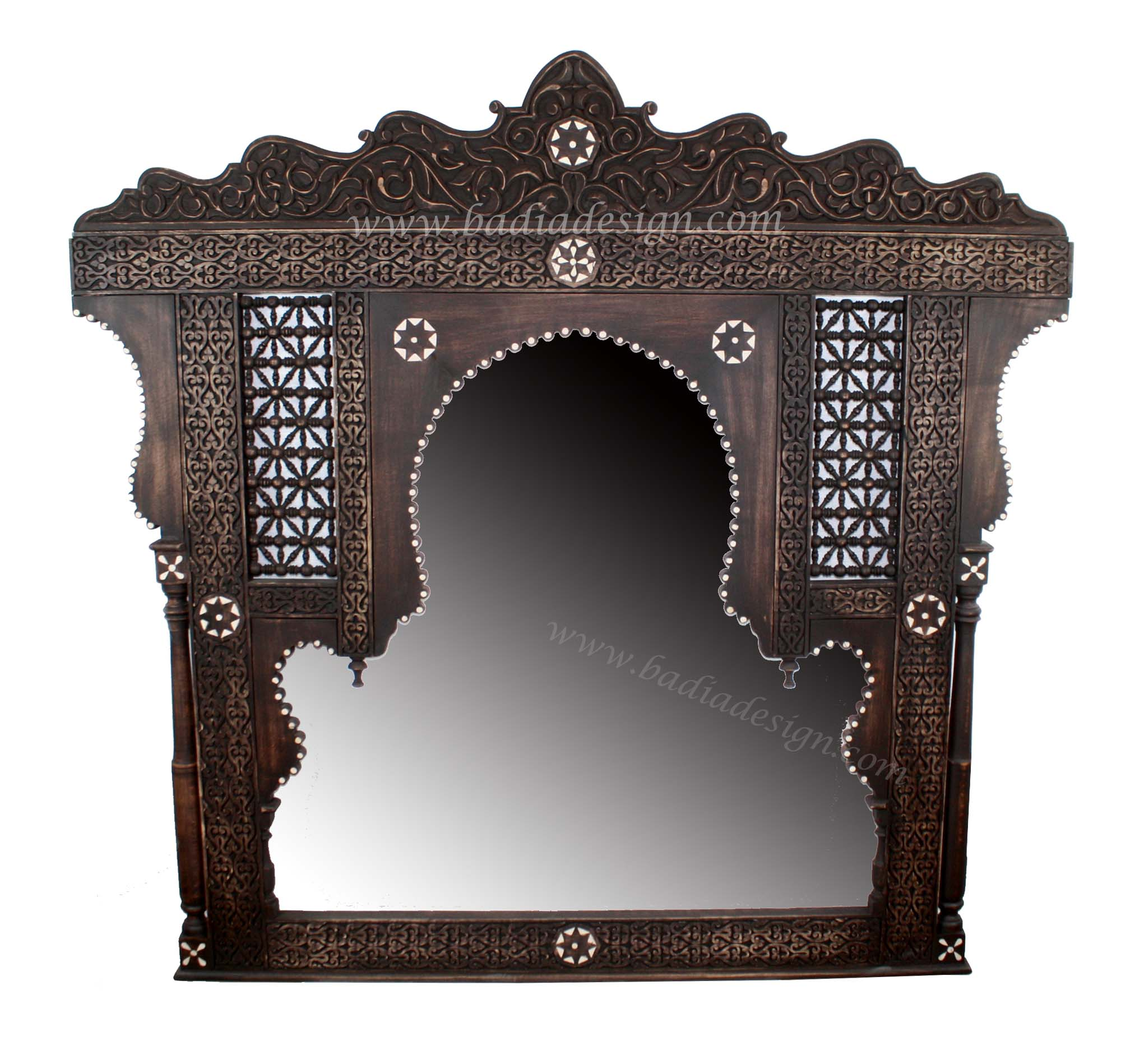 Moroccan Bone Inlay Mirror with Wooden Frame