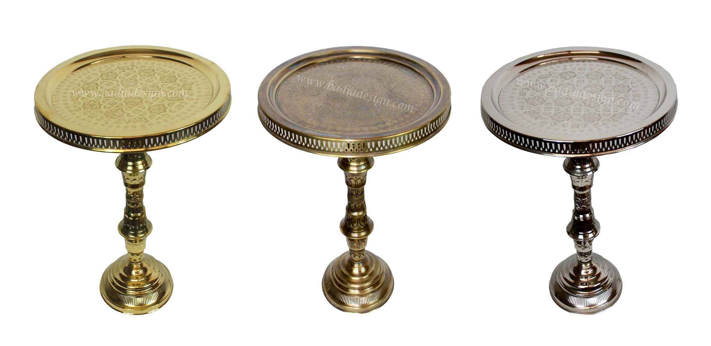 Moroccan Brass and Silver Tray Table
