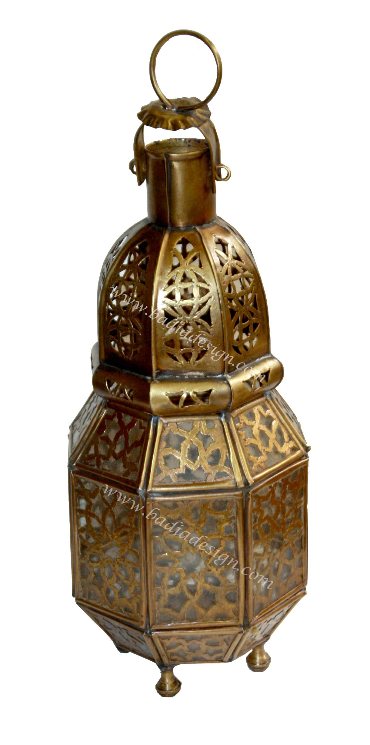 Moroccan Brass Lantern with White Glass