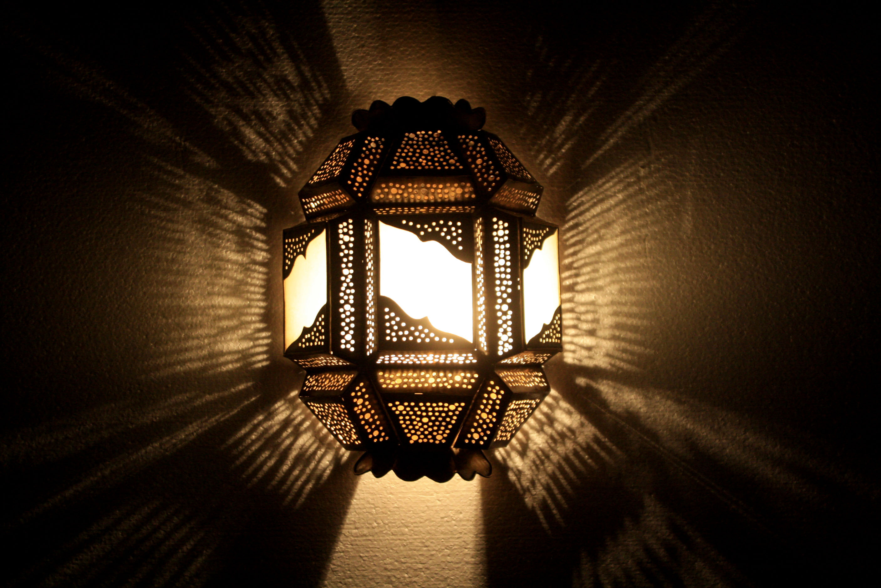Moroccan Brass Wall Sconce with White Glass