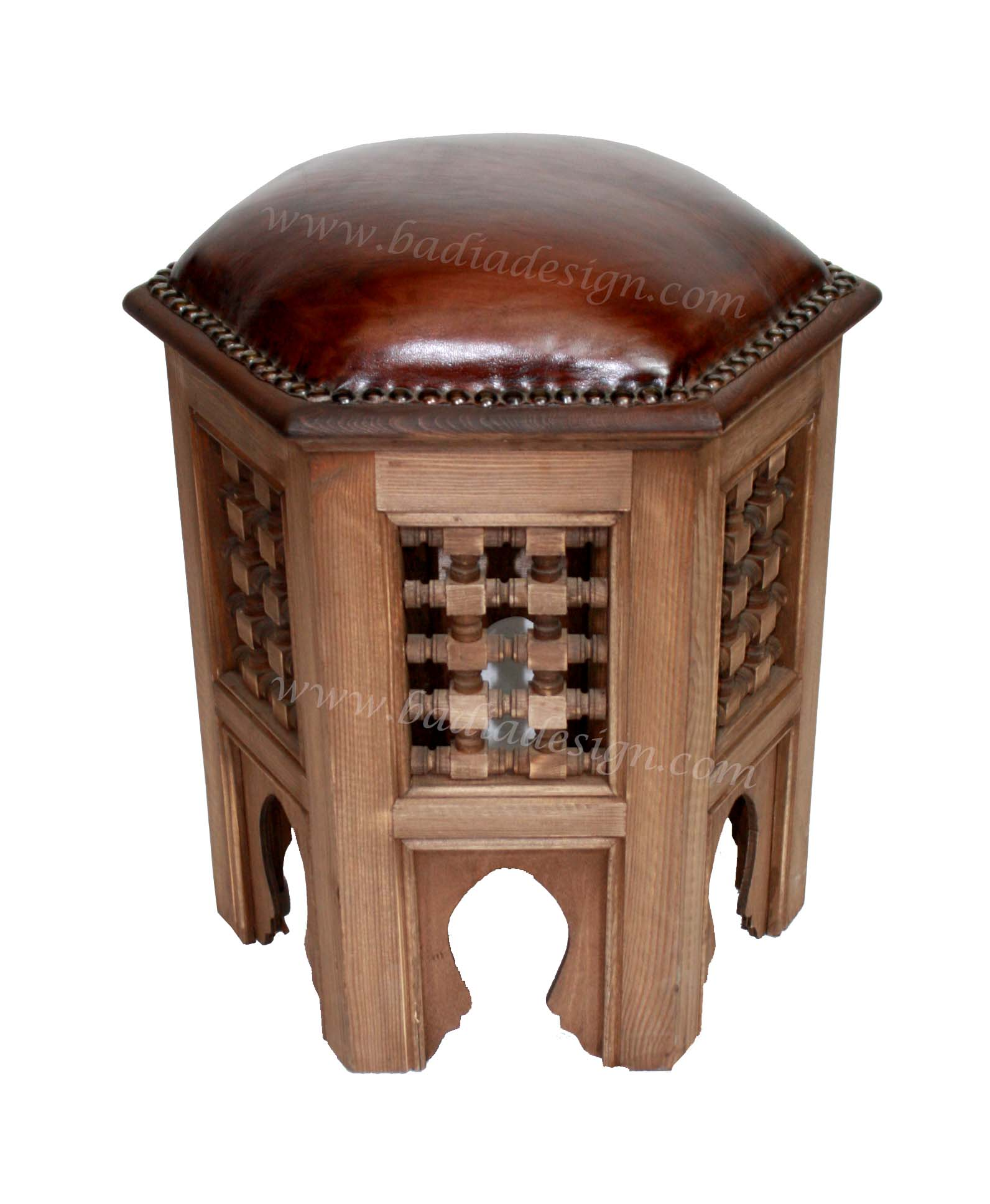 Moroccan Carved Wood Brown Leather Ottoman
