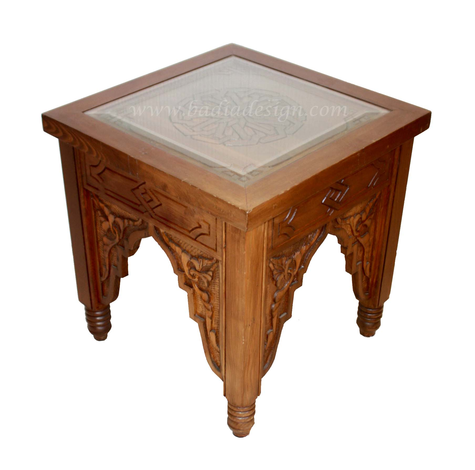 Moroccan Carved Wood Side Table with Glass Top from Badia Design Inc