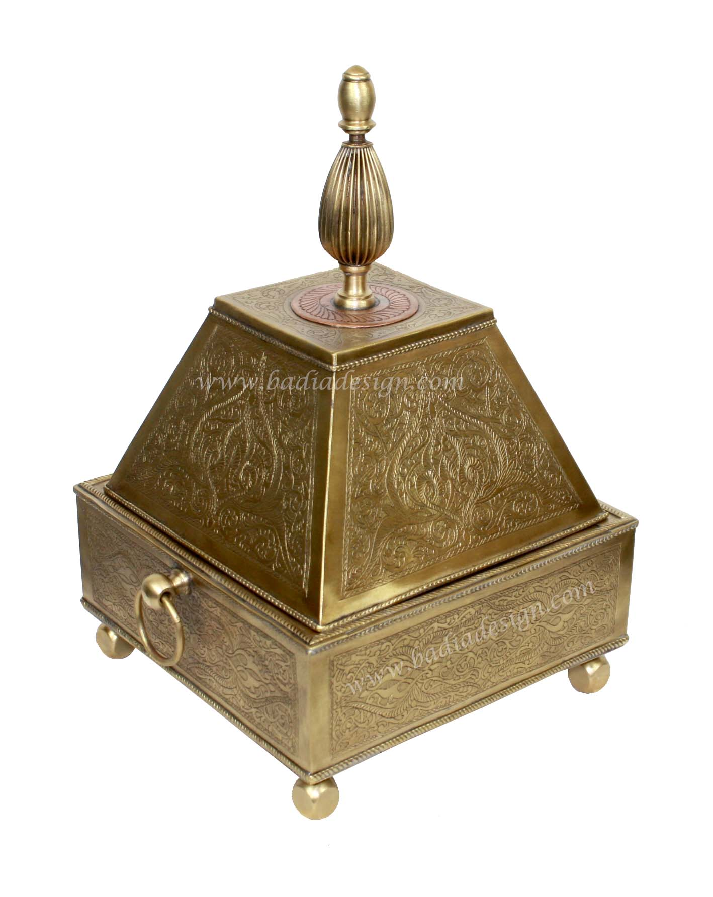 Moroccan Embossed Brass Container