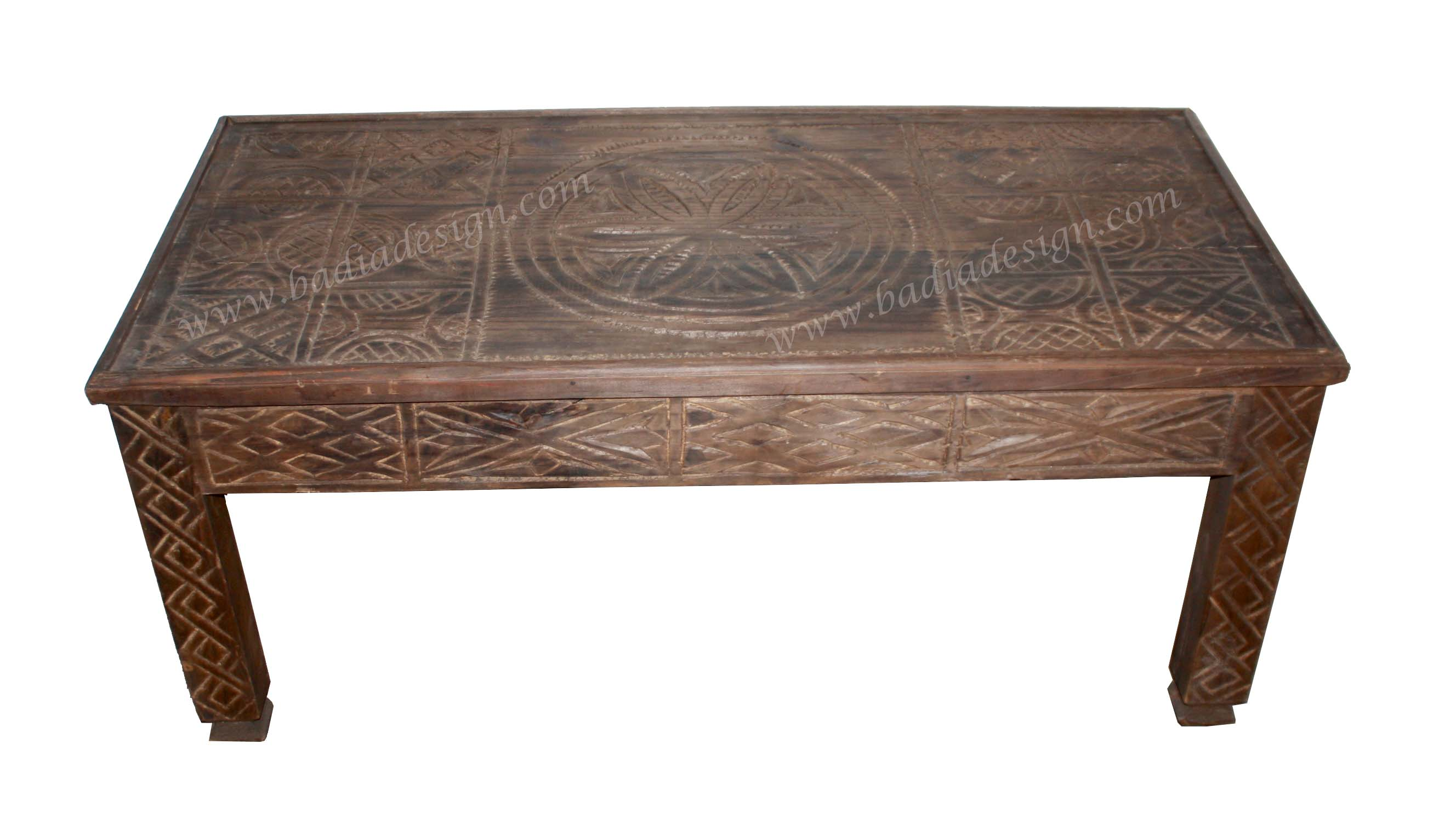 Moroccan Hand Carved Wooden Coffee Table from Badia Design Inc