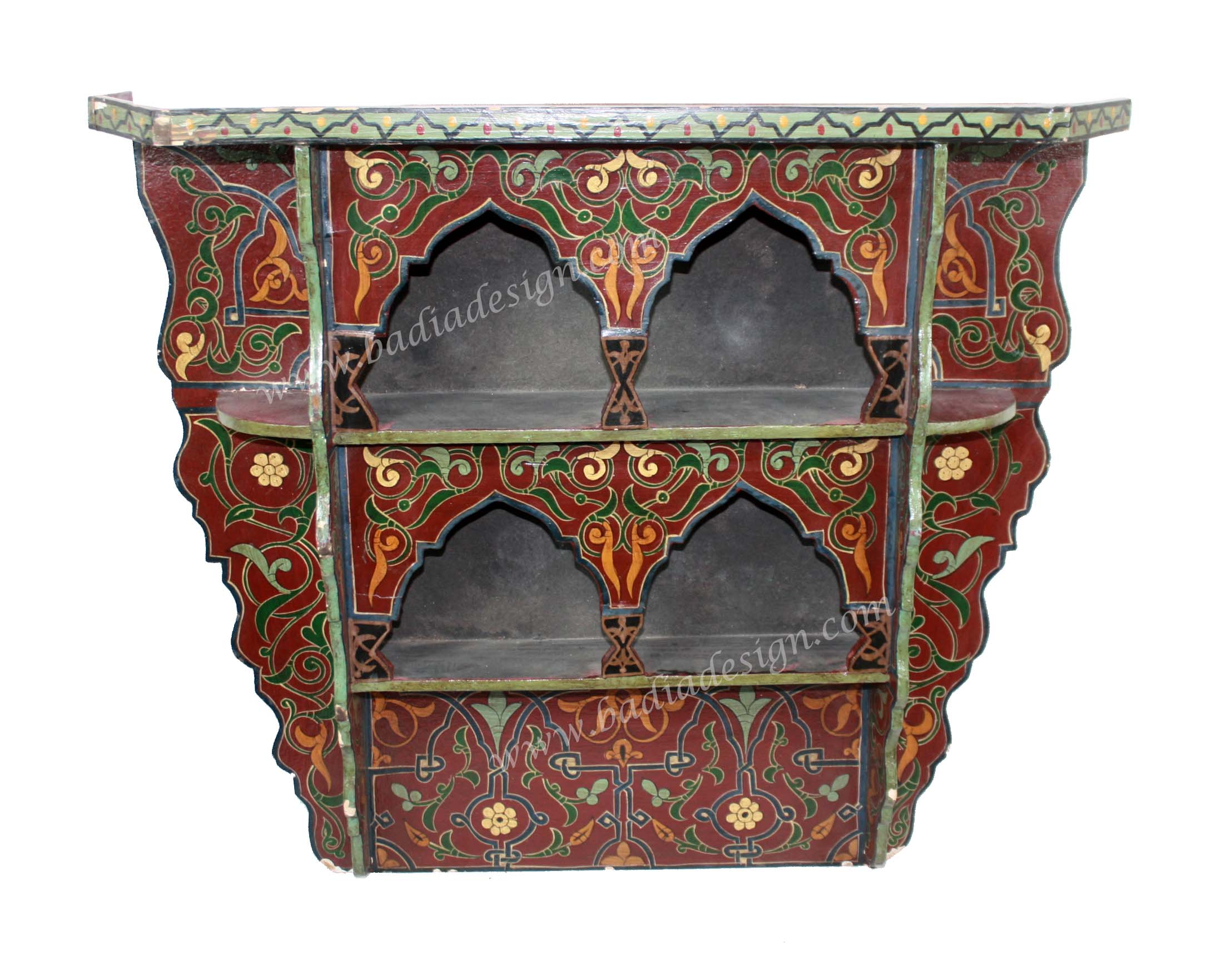 Moroccan hand painted wooden wall shelf by badia design inc for Moroccan hand painted furniture
