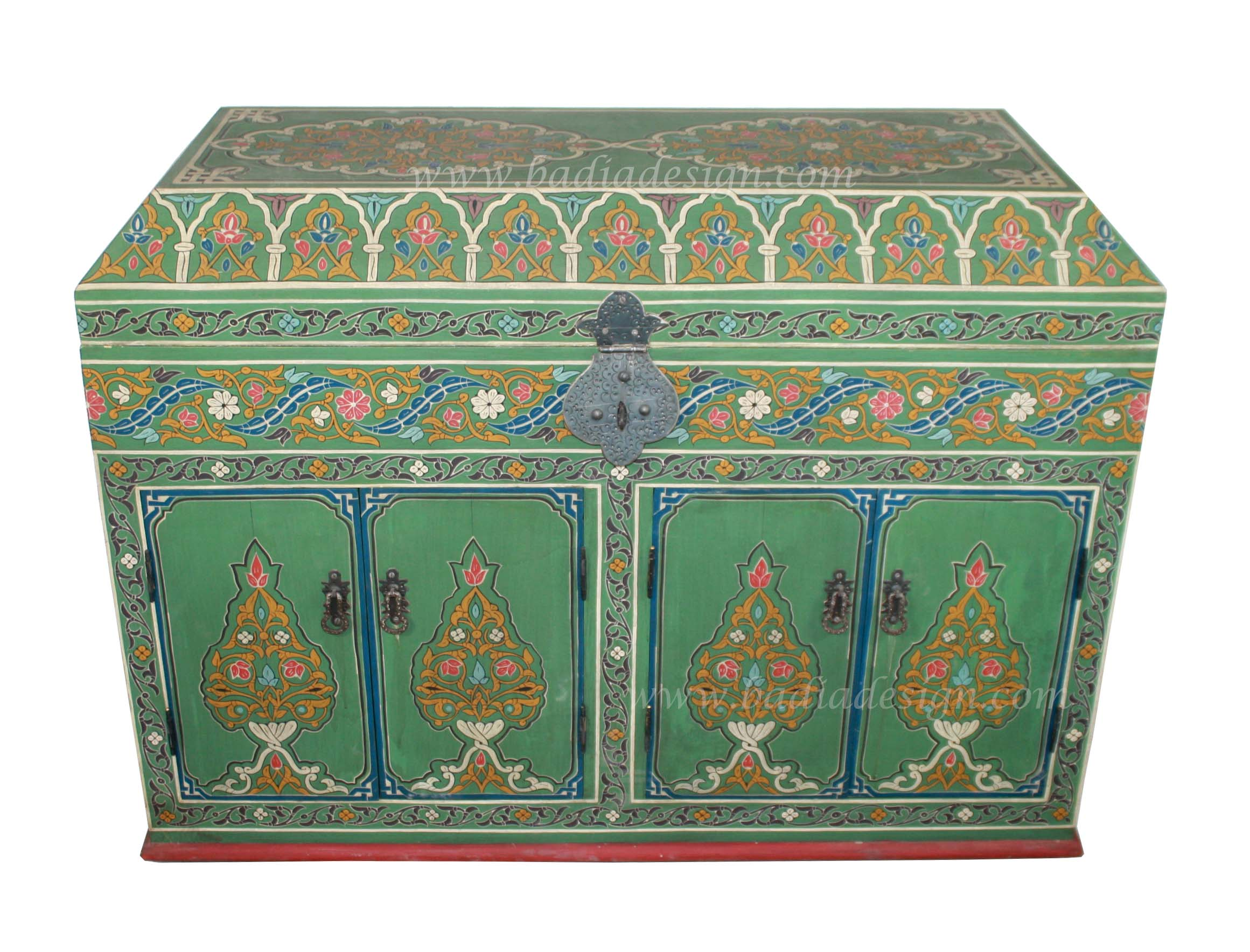 Moroccan Hand Painted Wooden Trunk
