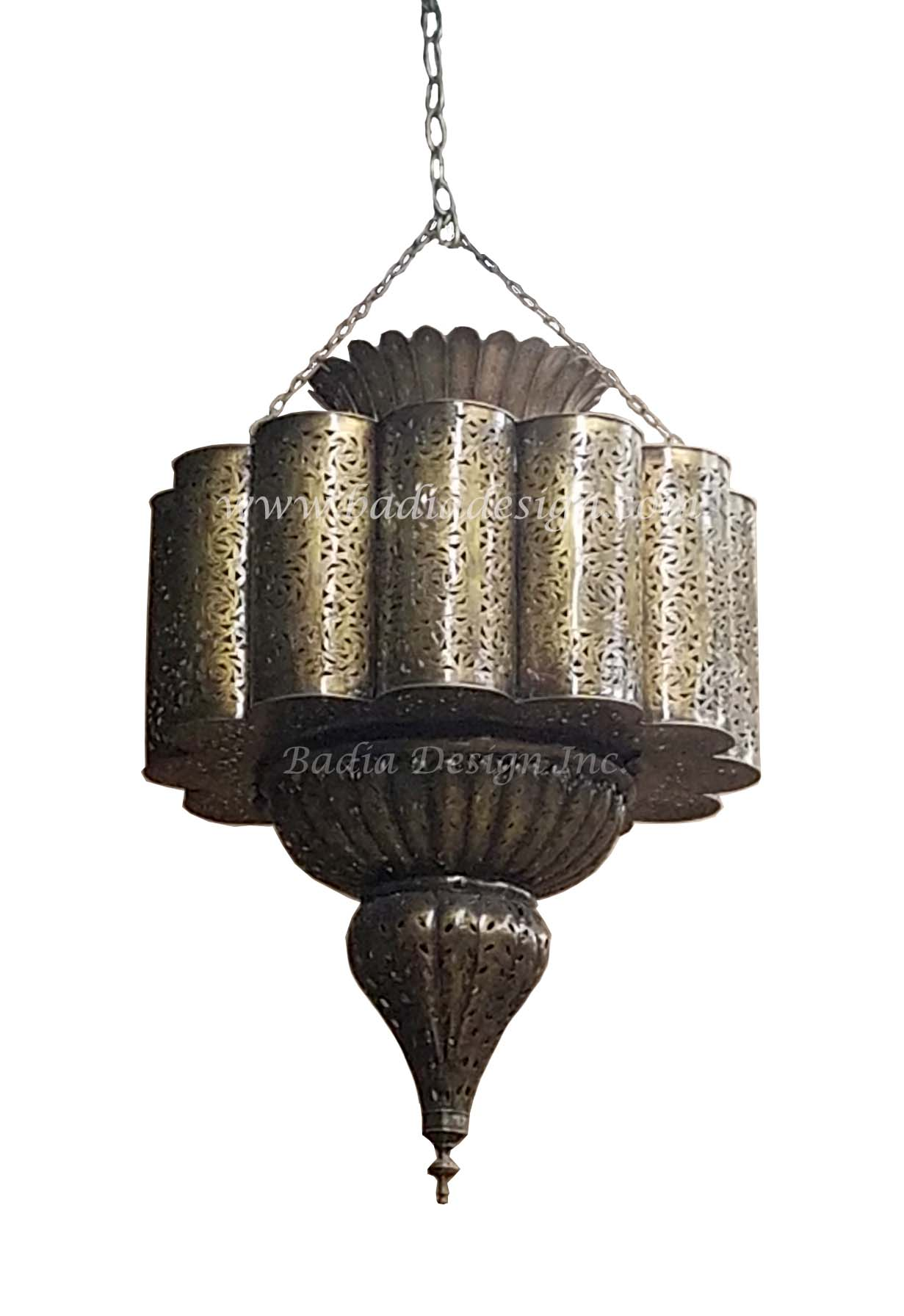 Moroccan hand punched brass chandelier from badia design inc - Moorish chandelier ...