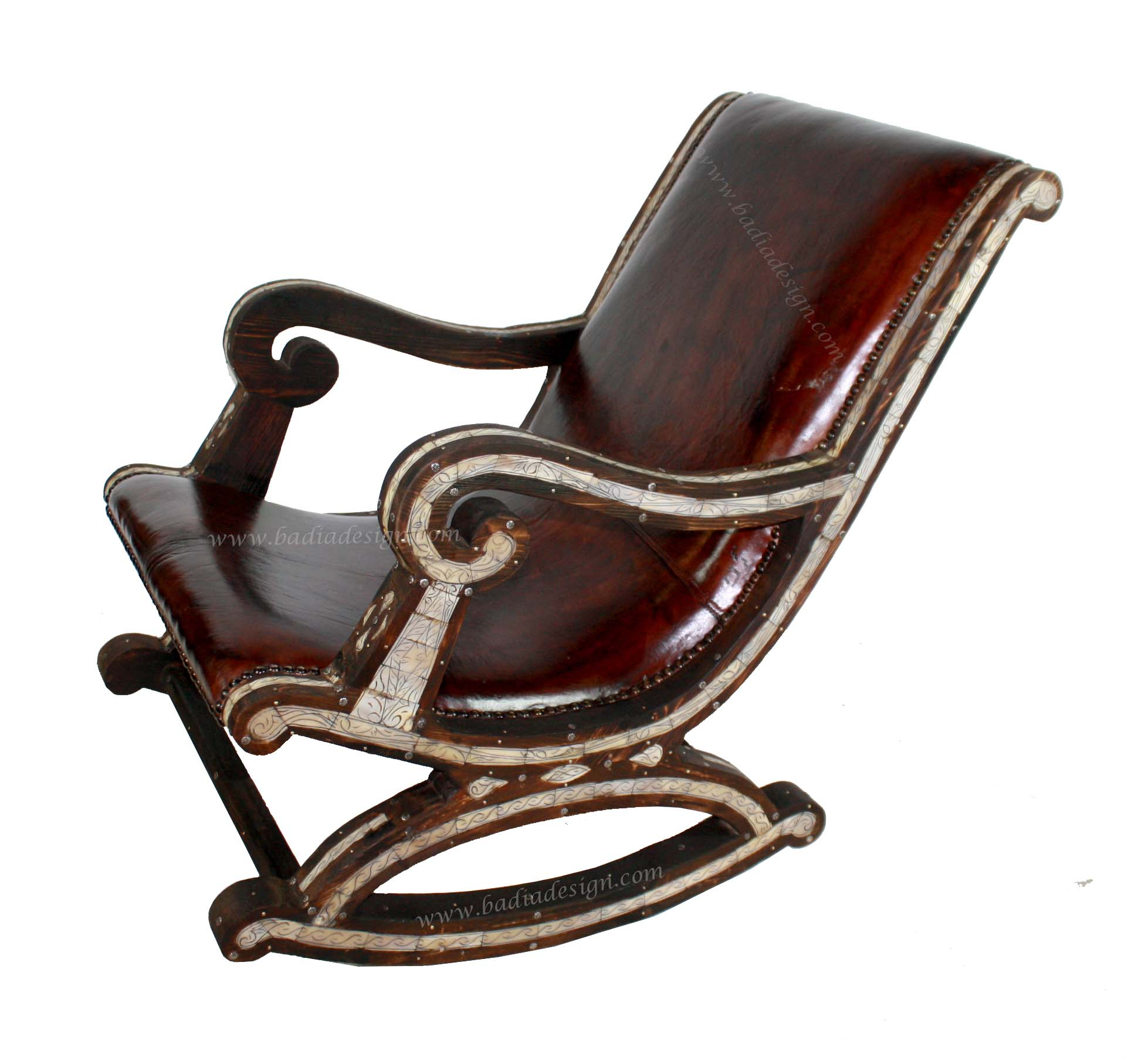 Moroccan Leather Chair with Metal and Bone