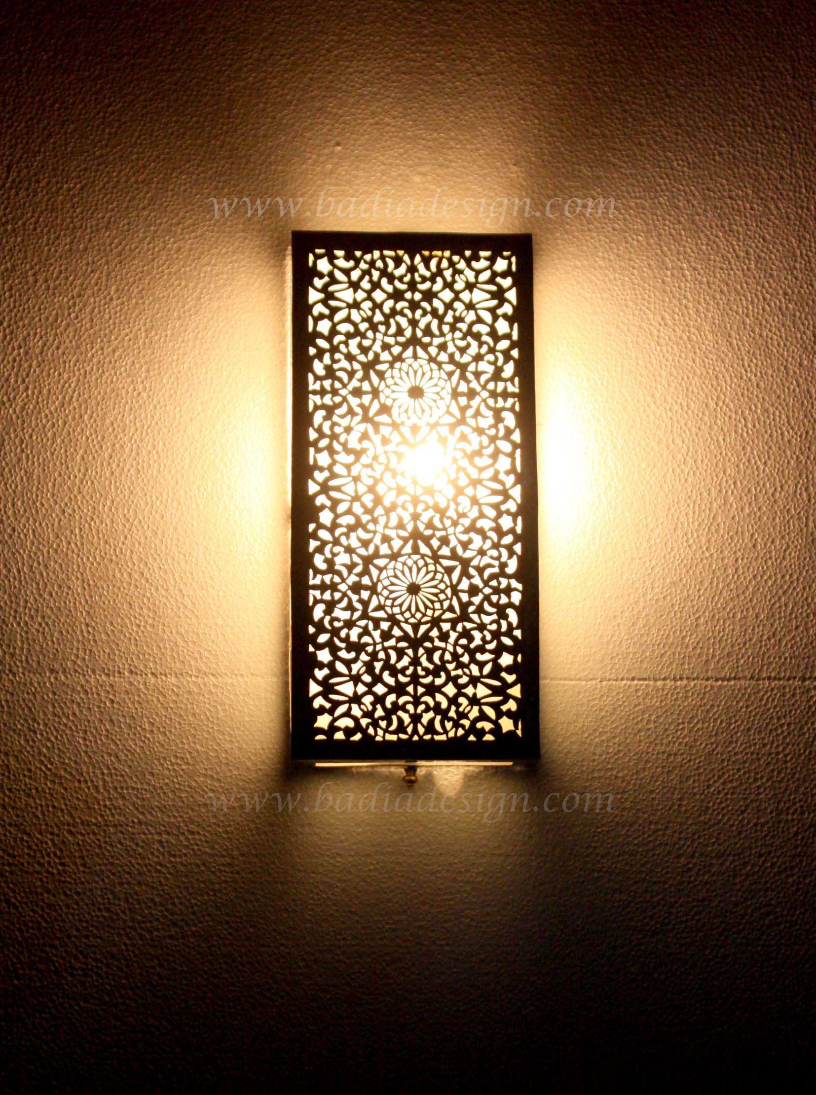 Moroccan Wall Lights Silver : Moroccan Rectangular Shaped Silver Wall Sconce from Badia Design Inc.