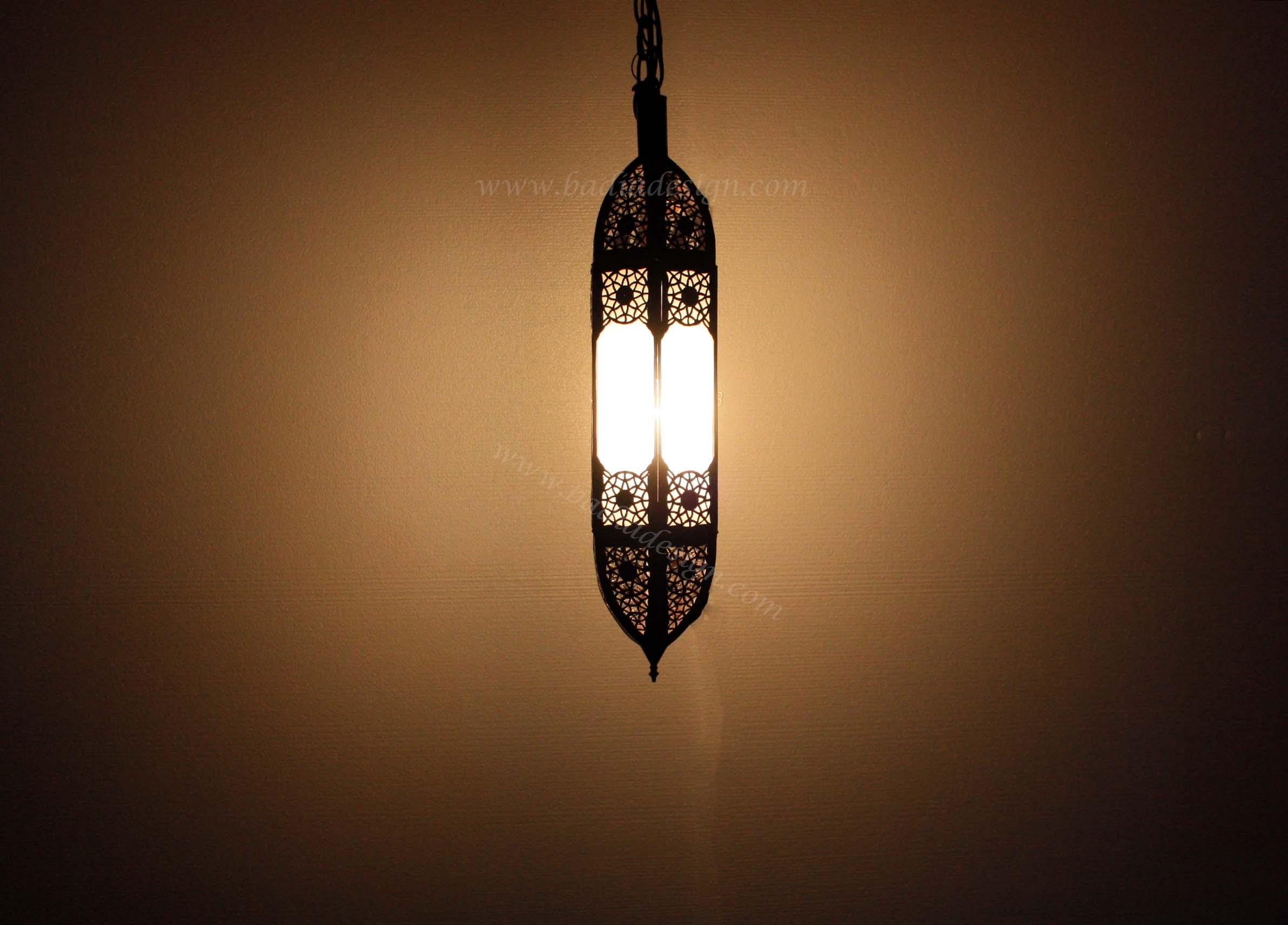 moroccan hanging white glass lantern from badia design inc