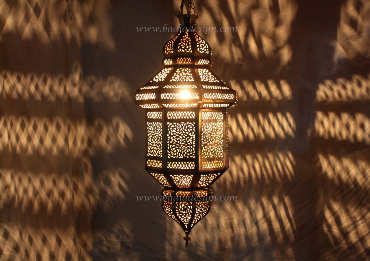 moroccan hanging brass lantern with white glass from badia design inc