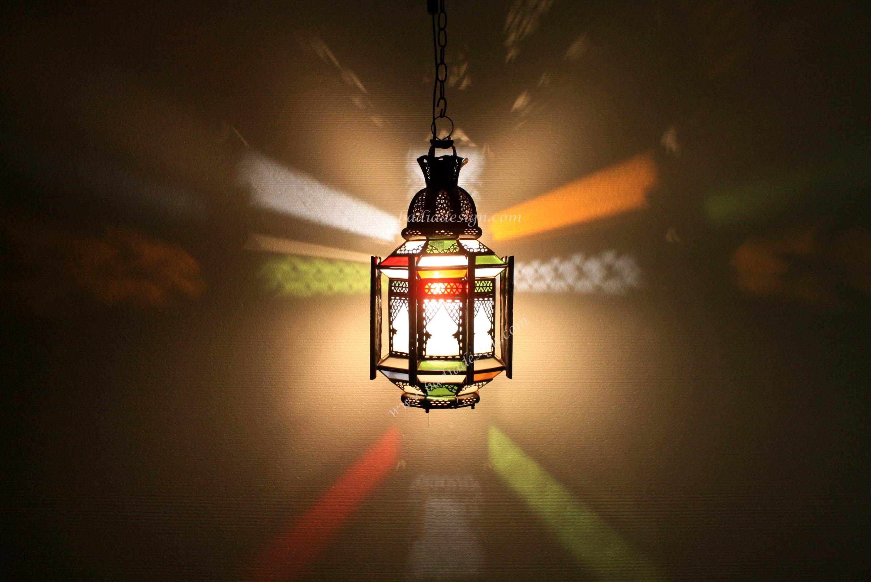Wonderful Moroccan Multicolor Glass Lantern Awesome Design