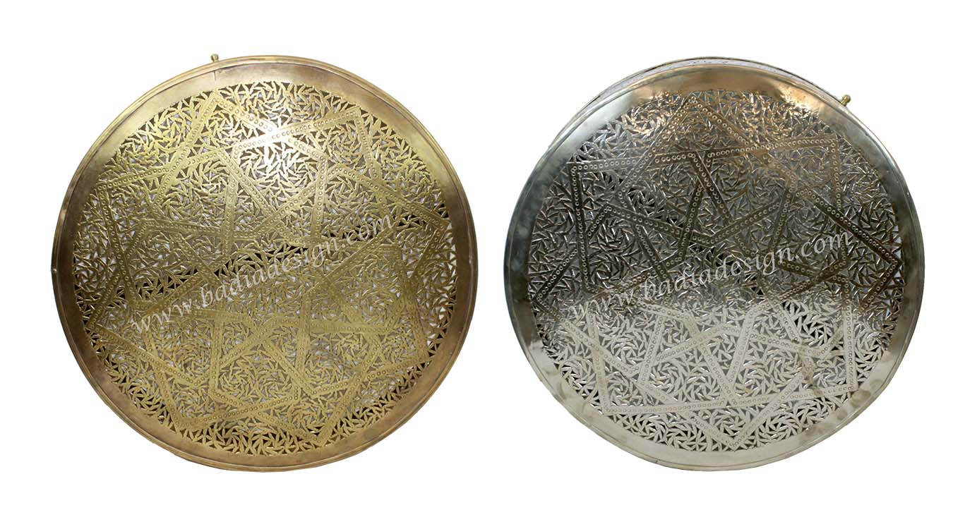 Moroccan Round Brass and Silver Wall Sconce