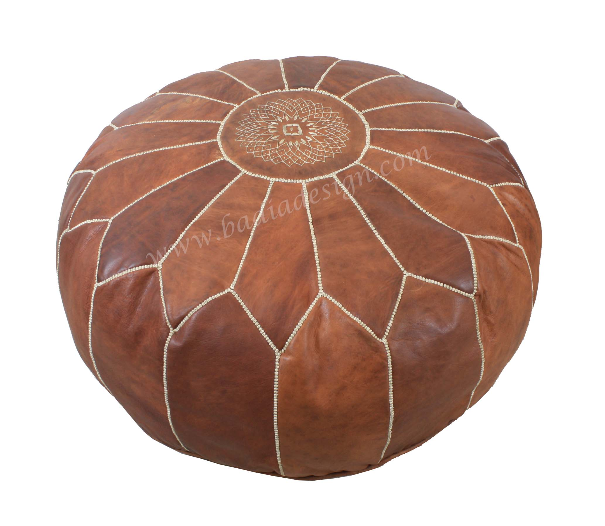Moroccan Round Leather Pouf by Badia Design Inc.