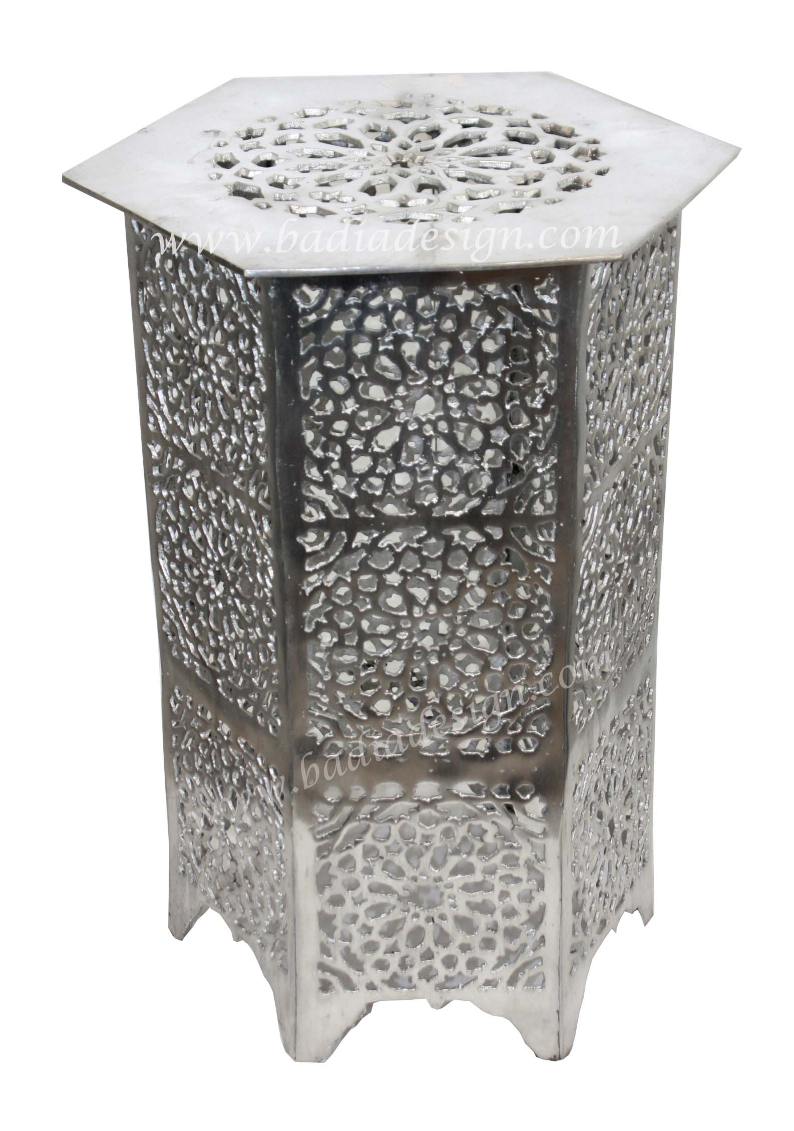 Moroccan Silver Metal Accent Table from Badia Design Inc