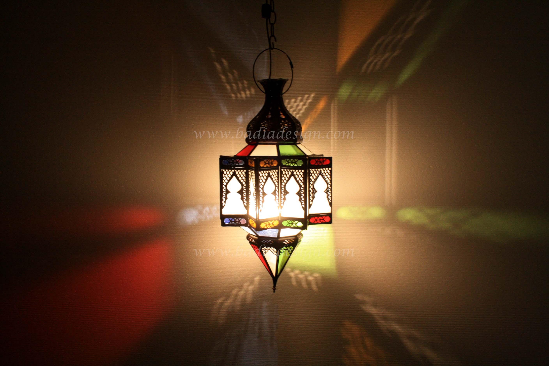 Moroccan Multicolor Glass Lantern
