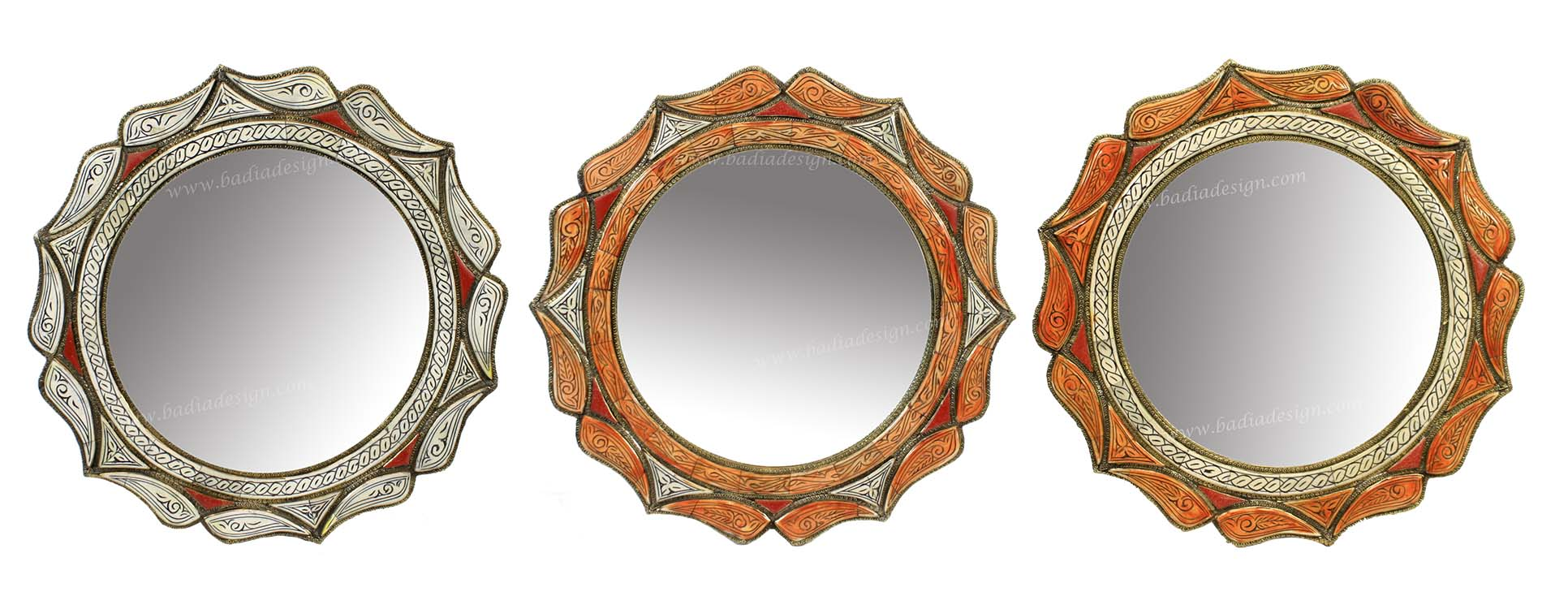 Round Moroccan Metal and Bone Mirror