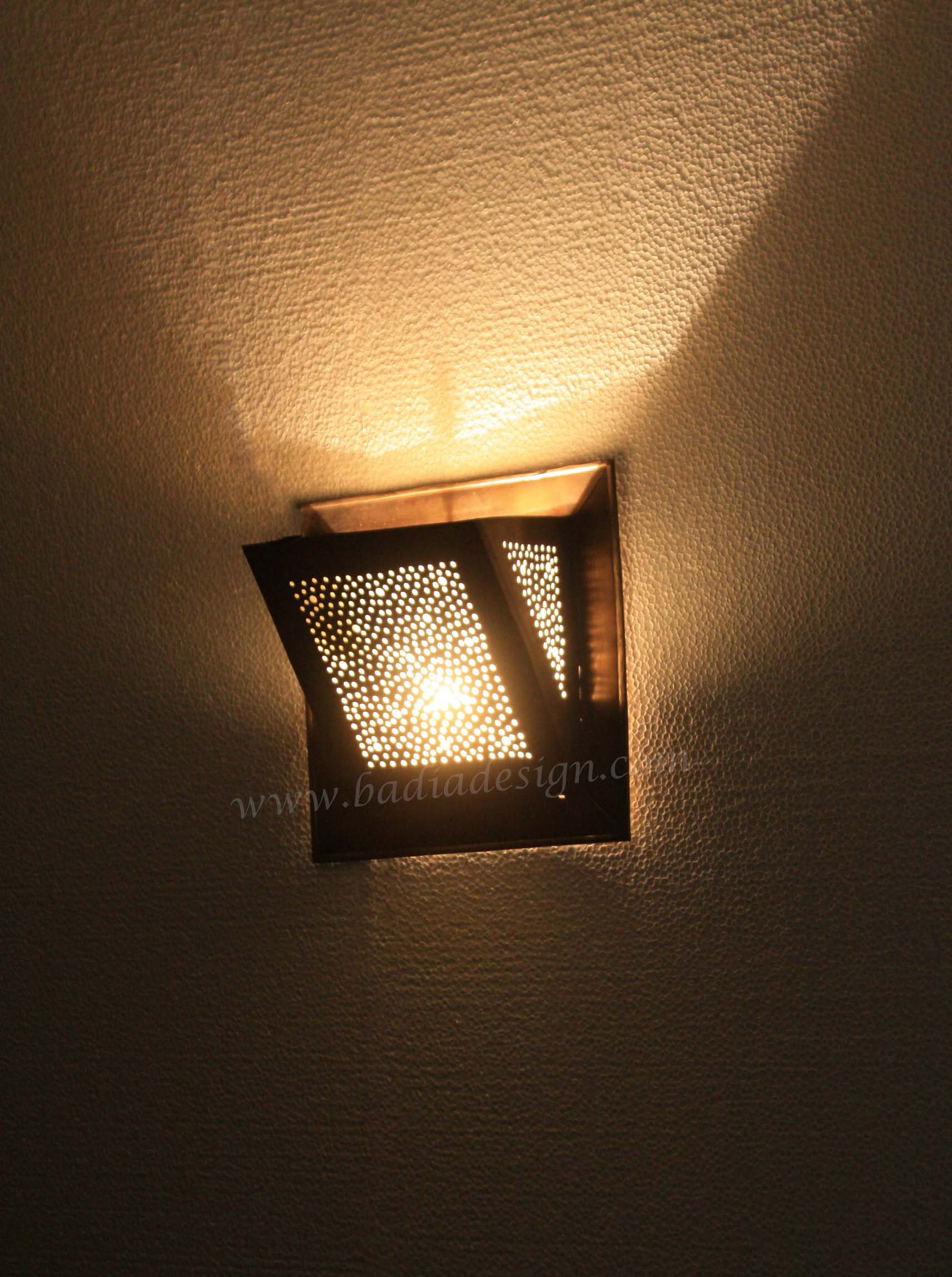 Small Moroccan Brass Wall Sconce from Badia Design Inc.