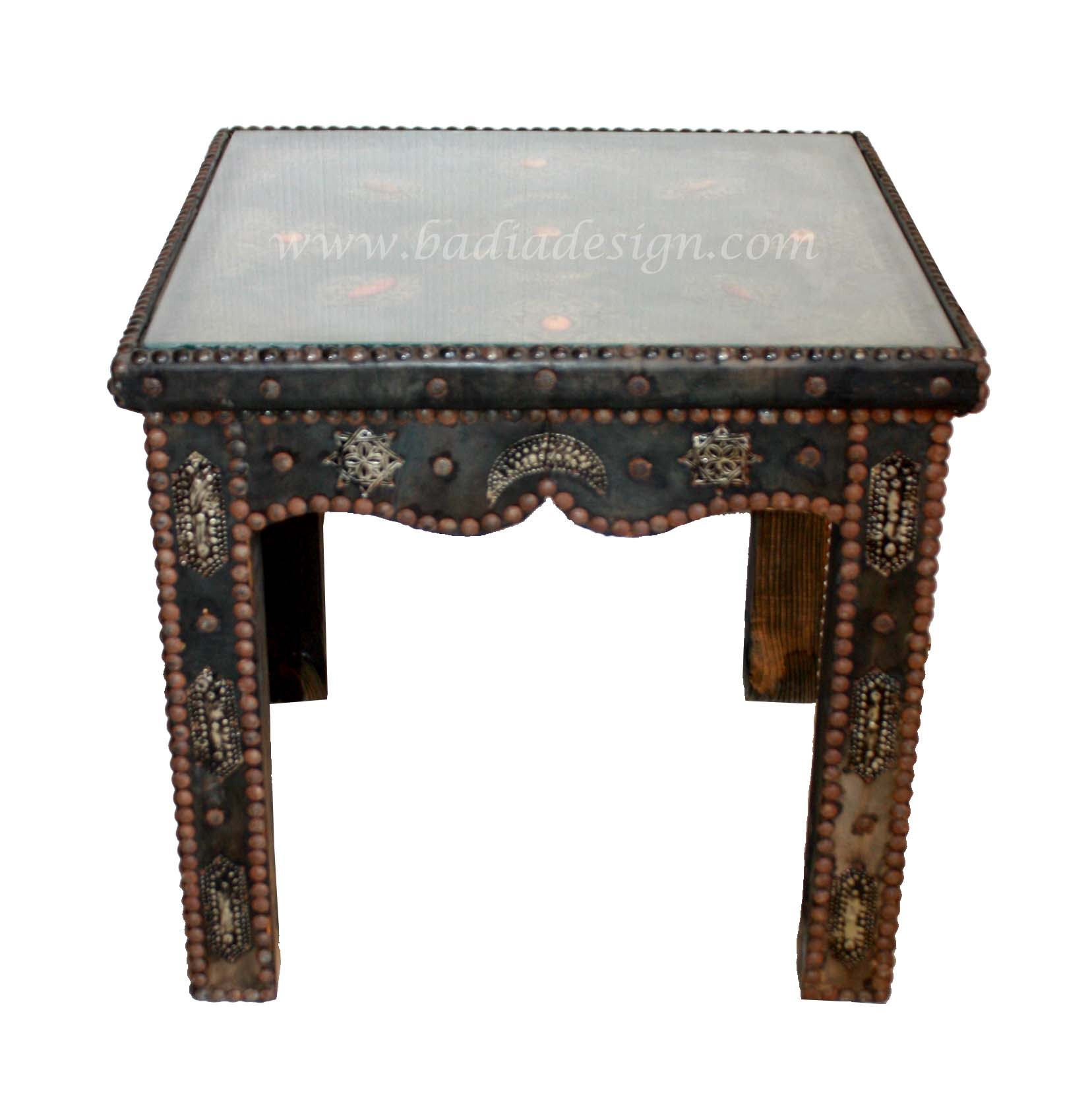 Square Moroccan Metal And Bone Side Table