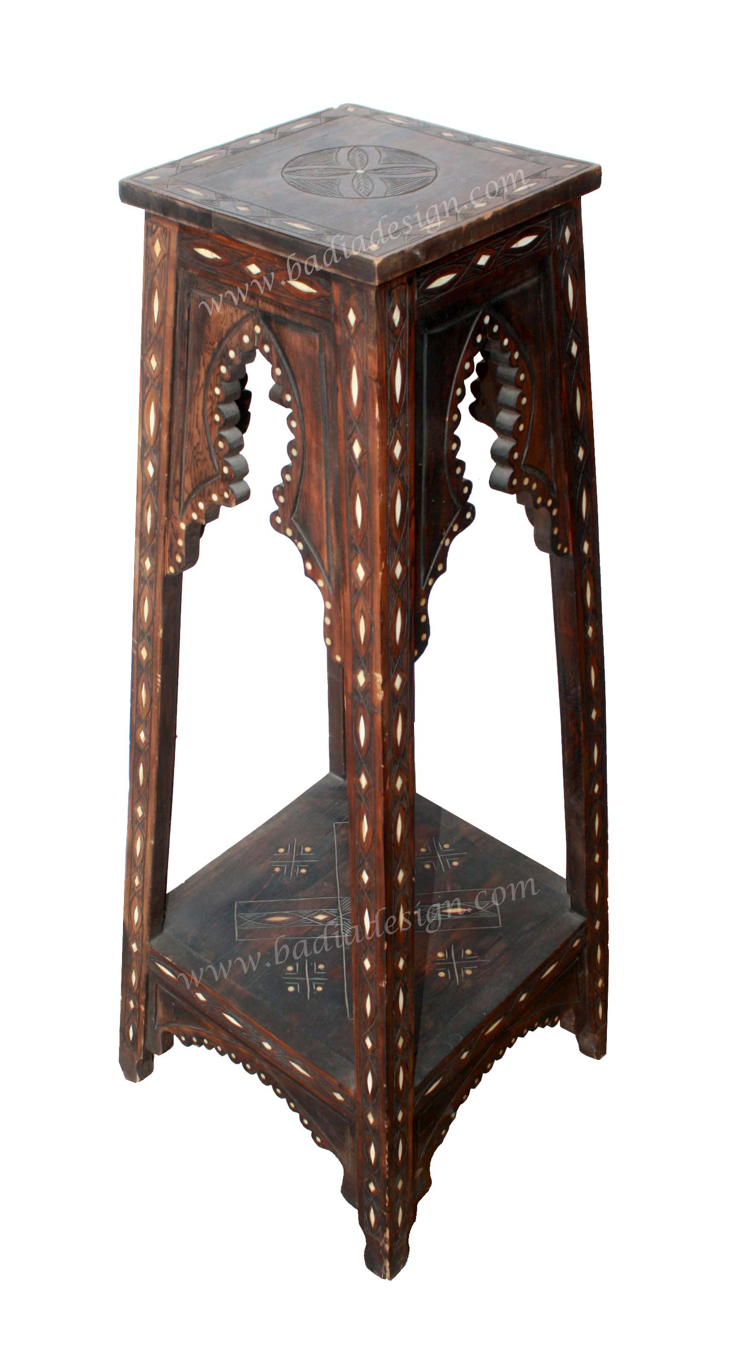 Tall Moroccan Bone Inlay Stand