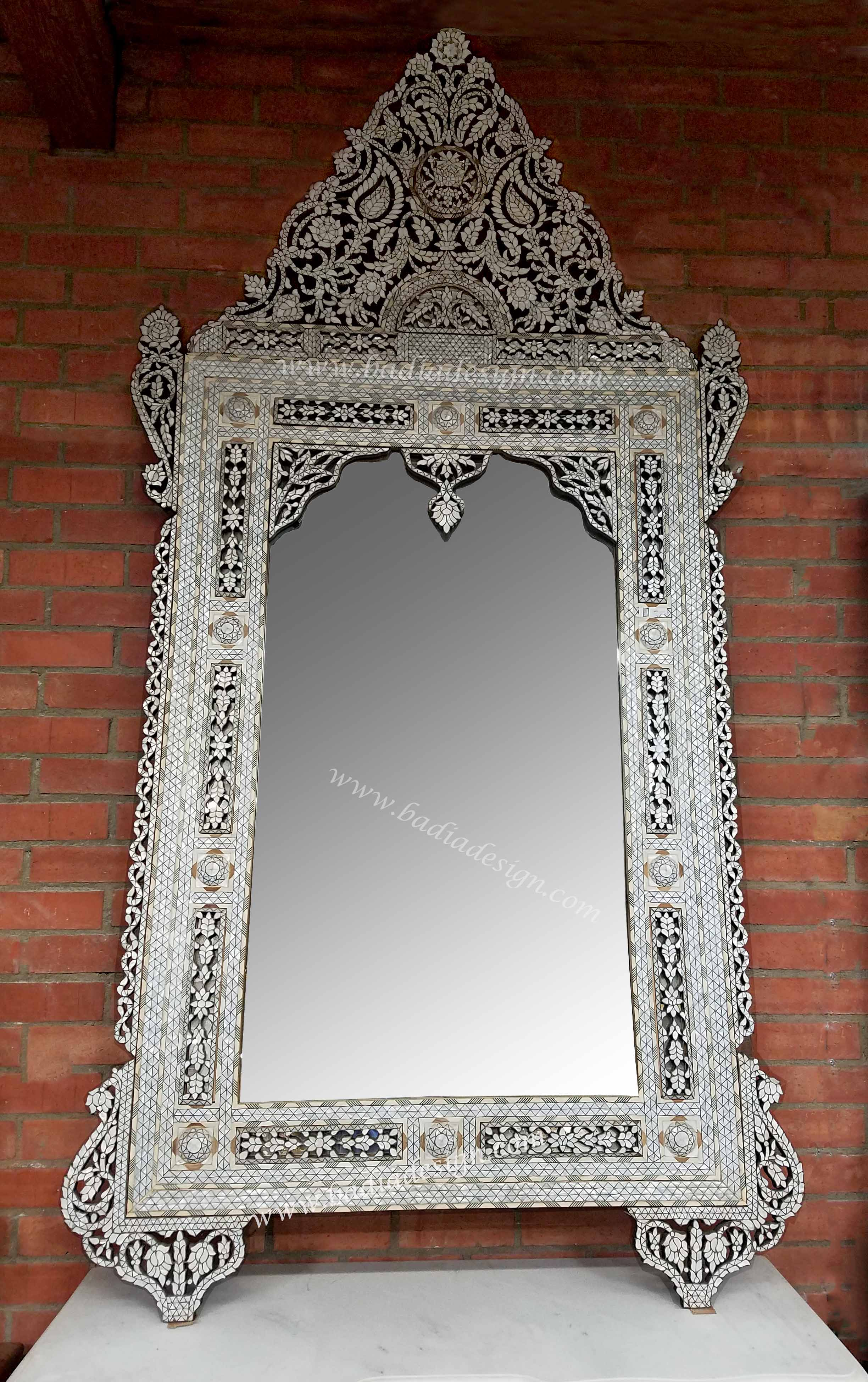 tall white moroccan mother of pearl mirror
