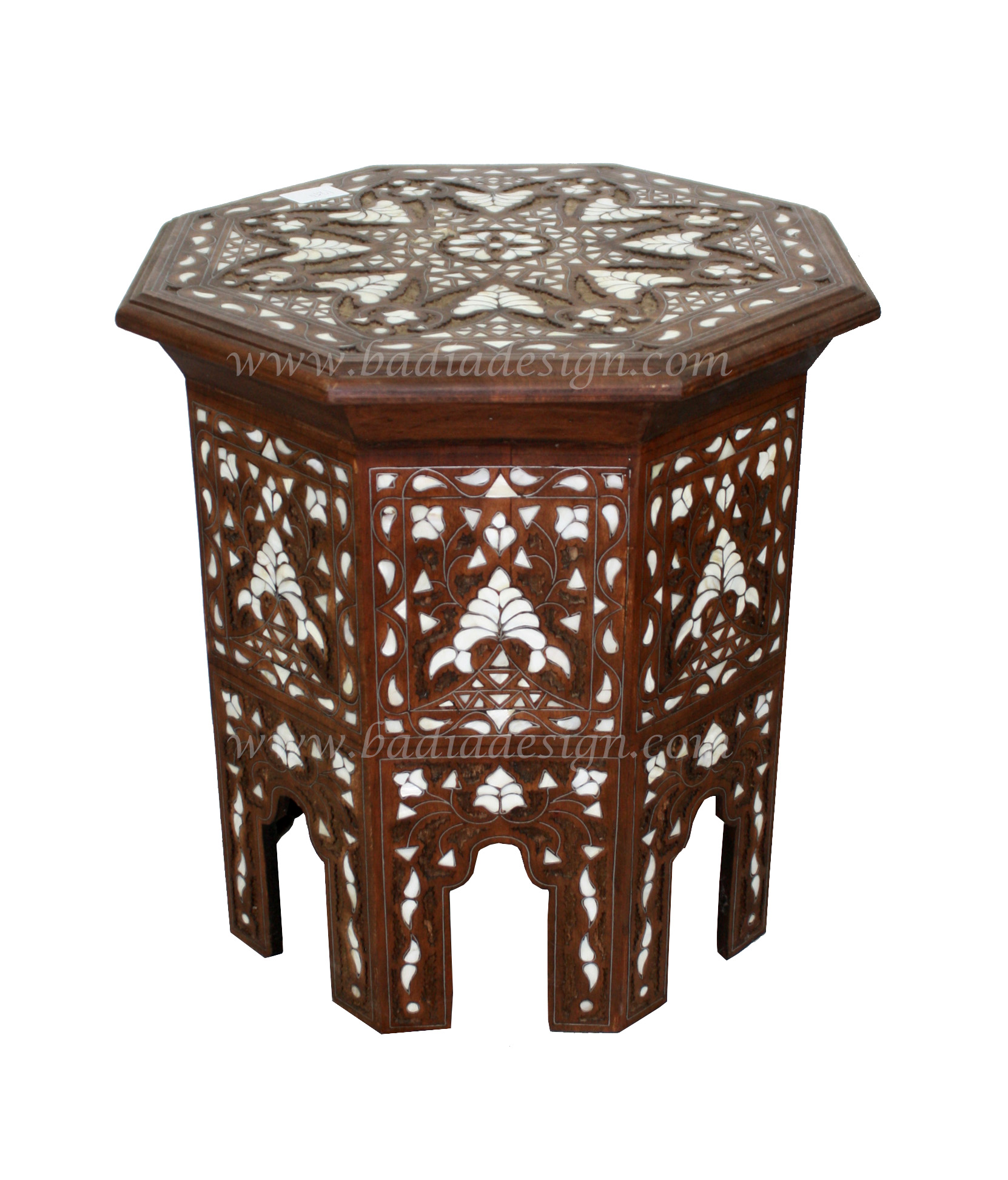 White Mother Of Pearl Side Table Mop St041
