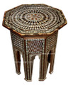 Mother of Pearl Inlaid Handcrafted Wooden Side Table - MOP-ST006