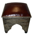 Metal and Bone Ottoman with Leather Top ML-CH007