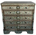 Mother of Pearl Inlaid 5-Drawer Dresser with White Marble Top MOP-DR008